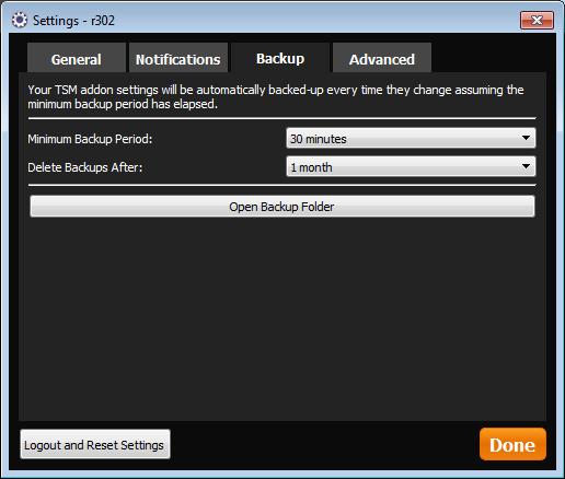 TSM Desktop App Backup