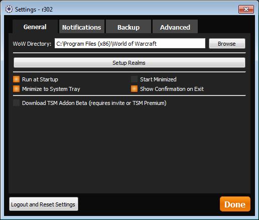 TSM Desktop App Settings