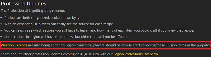 Legion Profession Update
