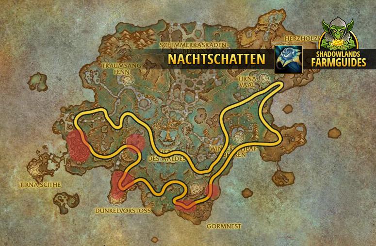 Die südliche Route zum Nachtschatten farmen im Ardenwald
