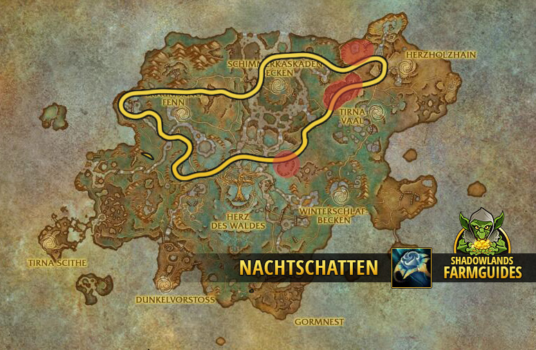 Die nördliche Route zum Nachtschatten farmen im Ardenwald
