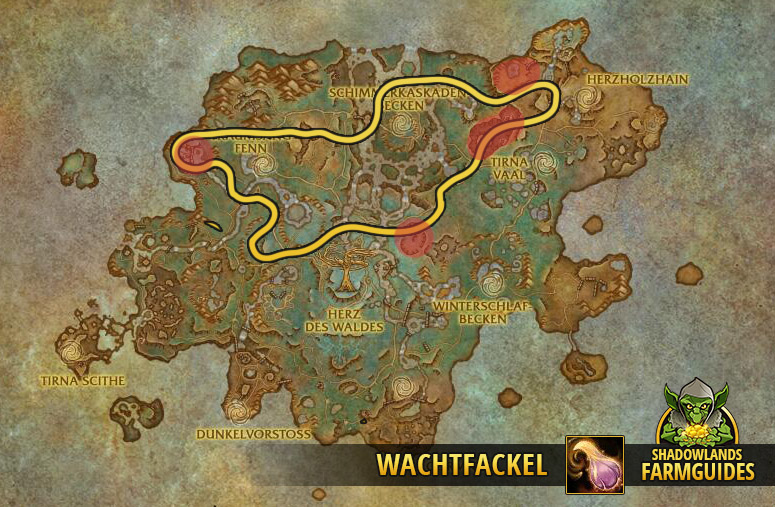 Die nördliche Route zum Wachtfackel farmen im Ardenwald